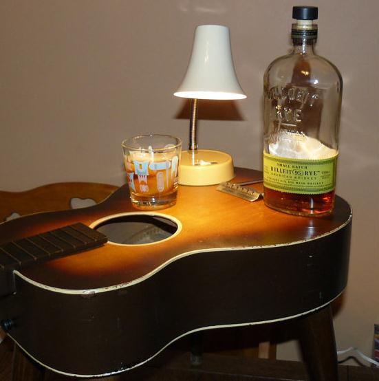 Ideas para reciclar una guitarra vieja for Mueble guitarras
