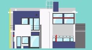 Cinco íconos de la arquitectura en un video animado