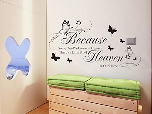Adhesivo decorativo para pared con cita de mariposa clásica y flor Beacuse Some We Love is in Heaven Home Decor, vinilo, 13x32 inch