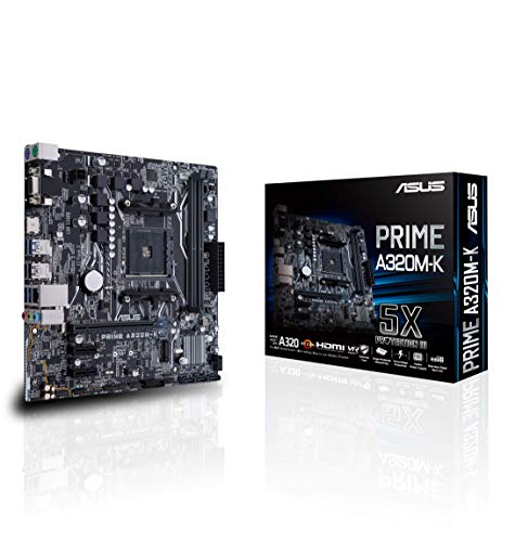 ASUS PRIME A320M-K - Placa Base AMD AM4 mATX con iluminación LED, DDR4 3200MHz, 32Gb/s M.2, HDMI, SATA 6Gb/s, USB 3.0