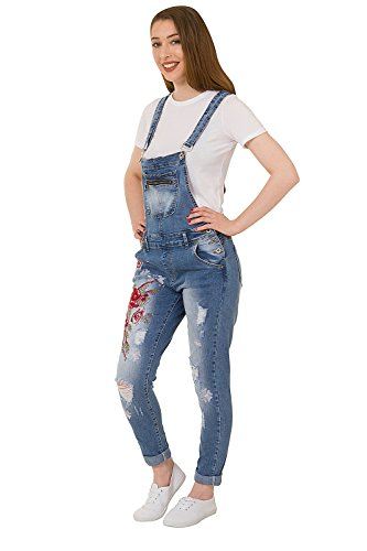 Peto Mujer con Bordado - Slim Fit Peto de Moda Distressed Denim Overalls ZARA-S-10