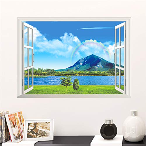 Arco iris natural mar vista a la montaña paisaje pegatinas de pared decoración del hogar sala de estar ventana 3d paisaje calcomanías de pared playa vista mural
