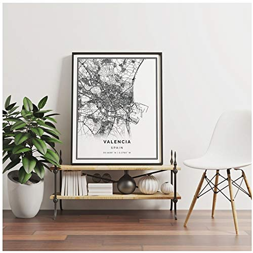 "YANGMENGDAN Impresión en Lienzo Valencia Map Poster Print Wall Art Picture Spain City Street Map Painting Nordic Picture Home Wall Decor 23.6 ""x 35.4"" (60x90cm) Sin Marco"