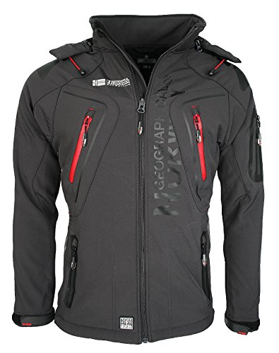 Geographical Norway Techno - Chaqueta flexible para hombre, con capucha desmontable gris S
