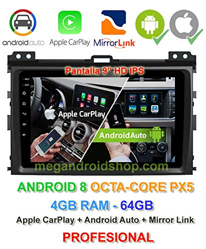 Radio 2din GPS, Android 10, Pantalla IPS, OctaCore PX5 64bits, 4GB DDR3 RAM, 64GB Apple Car Play Android Auto Toyota Land Cruiser KDJ 120 (+2002) y Toyota Prado (+2002)
