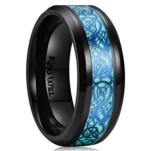 King Will - Alianza Aurora unisex de titanio negro brillante, diseño de dragón celta azul luminoso, 8 mm