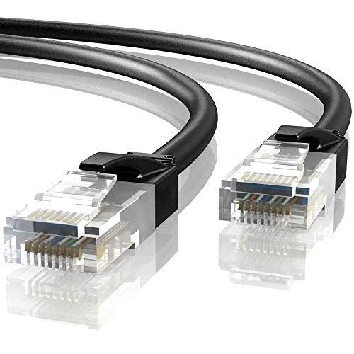 Mr. Tronic 15m Cable de Red Ethernet Latiguillo | CAT6, AWG24, CCA, UTP, RJ45 (15 Metros, Negro)