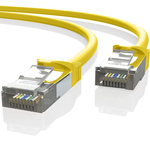 Mr. Tronic 25m Cable de Red Ethernet Latiguillo | CAT7, SFTP, CCA, RJ45 (25 Metros, Amarillo)