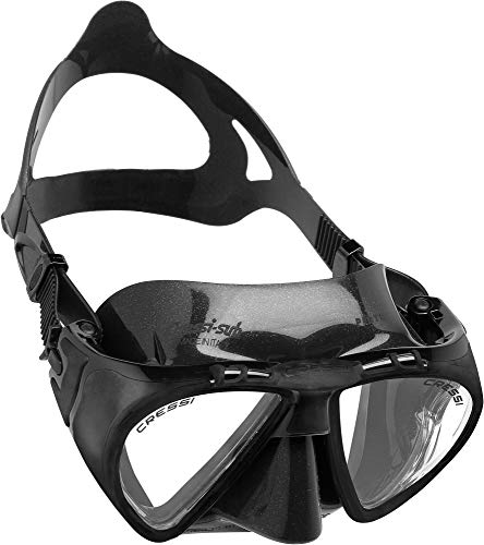 Cressi Adult Dive Mask with Inclined Lens, Lateral Visibility, and Silicone Skirt for Scuba Diving - Penta+: Made in Italy
